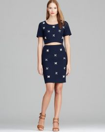 JOA Short Sleeve Crop Top with Jewels andamp Jeweled Pencil Skirt at Bloomingdales