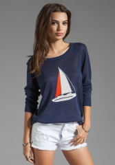 JOIE Evaline Nautical Intarsia Sweater in Blue Violet at Revolve