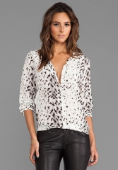 JOIE Snow Leopard Silk Purine Blouse in New Moon at Revolve
