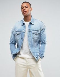 Jack   Jones Intelligence Oversized Denim Jacket With Distress Detail at asos com at Asos