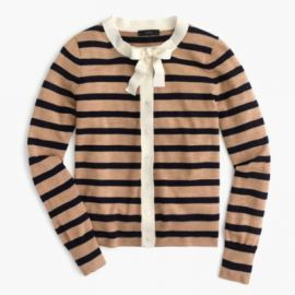 Jackie tie-neck cardigan sweater in stripes at J. Crew
