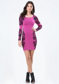 Jacquard Lace Sweater Dress at Bebe