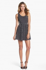 Jacquard Polka Dot Fit and Flare dress at Nordstrom