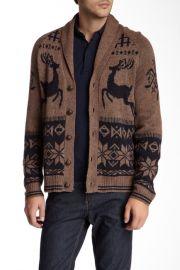 Jacquard Reindeer Wool Blend Cardigan at Nordstrom Rack