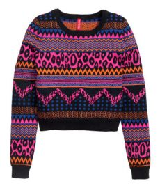 Jacquard-knit Sweater in Cerise at H&M