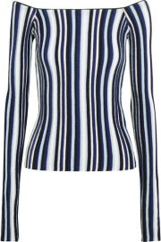 Jacquemus   Off-the-shoulder striped ribbed wool sweater at Net A Porter
