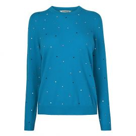 Jade Blue Embellished Knit Jumper at LK Bennett