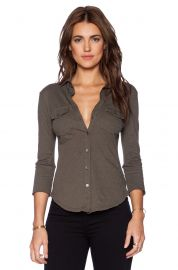 James Perse Contrast Panel Shirt in Fir at Revolve