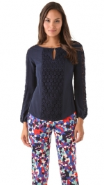 Janes blue crochet top on Happy Endings at Shopbop