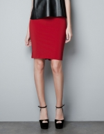 Jane's red Zara skirt at Zara