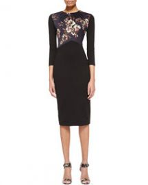Jason Wu 34-Sleeve Dress with Jersey Bodice BlackMulti at Neiman Marcus