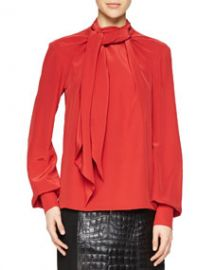 Jason Wu Bishop-Sleeve Scarf Blouse at Neiman Marcus