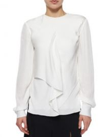 Jason Wu Draped-Front Crepe Blouse at Neiman Marcus
