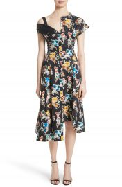 Jason Wu Floral Print Asymmetrical Cotton Dress at Nordstrom
