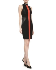 Jason Wu Leather and Knit Sheath Dress at Neiman Marcus