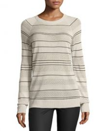 Jason Wu Long-Sleeve Knit Striped Silk Pullover Sweater Ivory at Neiman Marcus