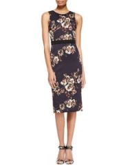 Jason Wu Sleeveless Floral Crepe Sheath Dress at Neiman Marcus