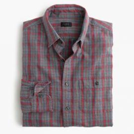 Jaspandeacute cotton shirt in heather slate plaid at J. Crew