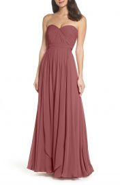Jenny Yoo Mira Convertible Strapless Chiffon Gown in Cinnamon Rose at Nordstrom