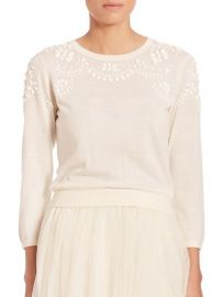 Jenny Yoo - Millie Embellished Sweater in White at Saks Fifth Avenue