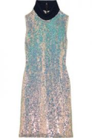 Jersey-trimmed sequined silk turtleneck dress at The Outnet