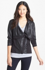 Jessica Simpson Altmar Faux Leather andamp Knit Jacket at Nordstrom