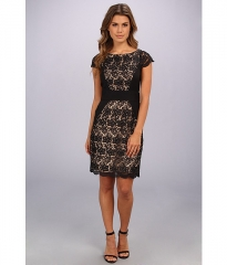 Jessica Simpson Cap Sleeve Fitted Dress With Contrast Panels Black at Zappos