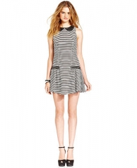 Jessica Simpson Dress Sleeveless Brittian Striped Drop-Waist - Juniors Dresses - Macys at Macys