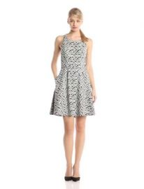Jessica Simpson Womenand39s Sleevless Printed Fit-and-Flare Dress with Bow Back at Amazon