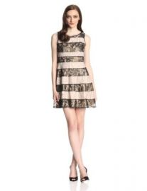 Jessica Simpson Womenand39s Sleevless Stripe Lace Fit and Flare Dress at Amazon