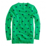 Jess's green spotty sweater from JCrew at J. Crew