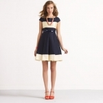 Jess's navy and cream colorblock dress at Kate Spade