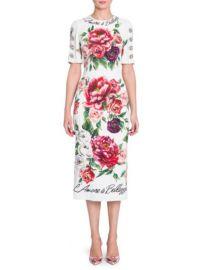 Jewel Button Peony Print Cady Dress Dolce Gabbana at Saks Fifth Avenue