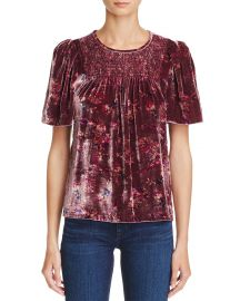 Jewel Floral Print Velvet Top by Rebecca Taylor at Bloomingdales