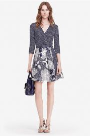 Jewel Silk Combo Wrap Dress at DvF