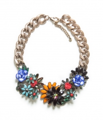 Jewelled Flowers Necklace at Zara
