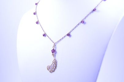 JewelryFX Amethyst Necklace with Filigree Accent at Etsy