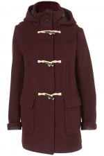 Jills burgundy toggle coat on The Carrie Diaries at Topshop