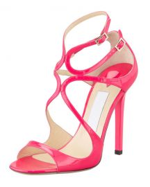 Jimmy Choo Lang Patent Strappy Sandal at Neiman Marcus