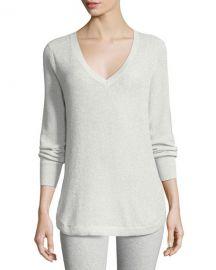 Joan Vass V-Neck Lurex Sweater   Neiman Marcus at Neiman Marcus