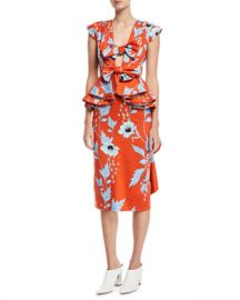 Johanna Ortiz Kalahari Bow-Front Peplum-Waist Garden-Print Dress at Neiman Marcus