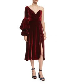 Johanna Ortiz Sabina One-Shoulder Velvet Sweetheart Dress at Neiman Marcus