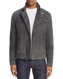 John Varvatos Collection Gray Suede Moto Jacket at Bloomingdales