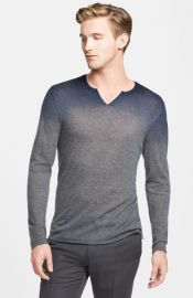 John Varvatos Collection Extra Trim Fit Split Neck Ombrand233 Cashmere Sweater at Nordstrom