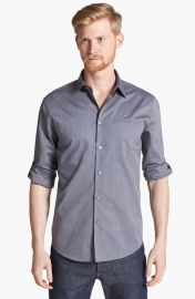 John Varvatos Collection Slim Fit Cotton Woven Shirt in Thunder at Nordstrom