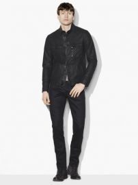 John Varvatos Resin Coated Moto Jacket at John Varvatos