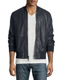 John Varvatos Star USA Burnished Leather Bomber Jacket at Neiman Marcus