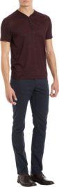 John Varvatos Star USA Snap Button Short Sleeve Henley at Barneys
