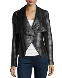 John and Jenn Texture Striped Leather Jacket at Last Call