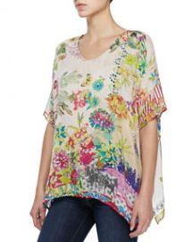 Johnny Was Collection Dreamer Floral-Print Georgette Top at Neiman Marcus